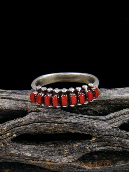 Sterling Silver Zuni Coral Ring