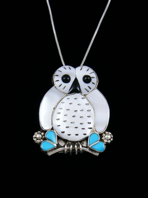 Zuni Inlay Mother of Pearl Owl Pin/Pendant