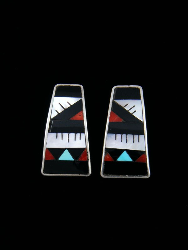 Native American Zuni Inlay Mother of Pearl Post Earrings