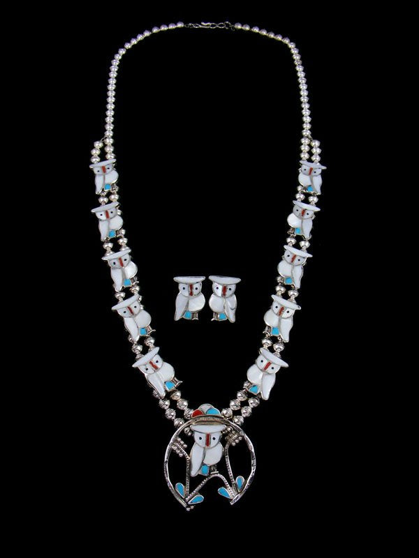 Zuni Inlay Mother of Pearl Owl Squash Blossom Necklace Earring Set
