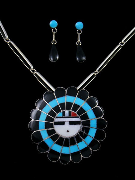 Native American Zuni Inlay Penn Shell Sunface Necklace Set