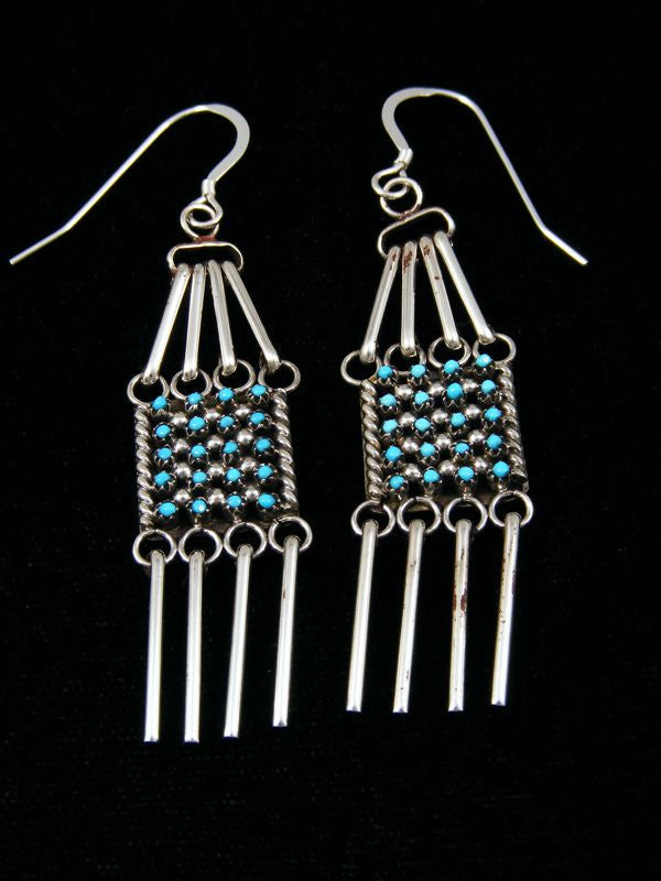 Zuni Turquoise Petit Point Earrings by Justin Amesol - PuebloDirect.com