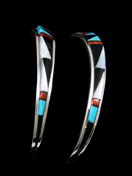 Zuni Inlay Earrings by Phyllis Lucio - PuebloDirect.com