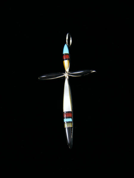 Sterling Silver Zuni Inlay Mother of Pearl Cross Necklace
