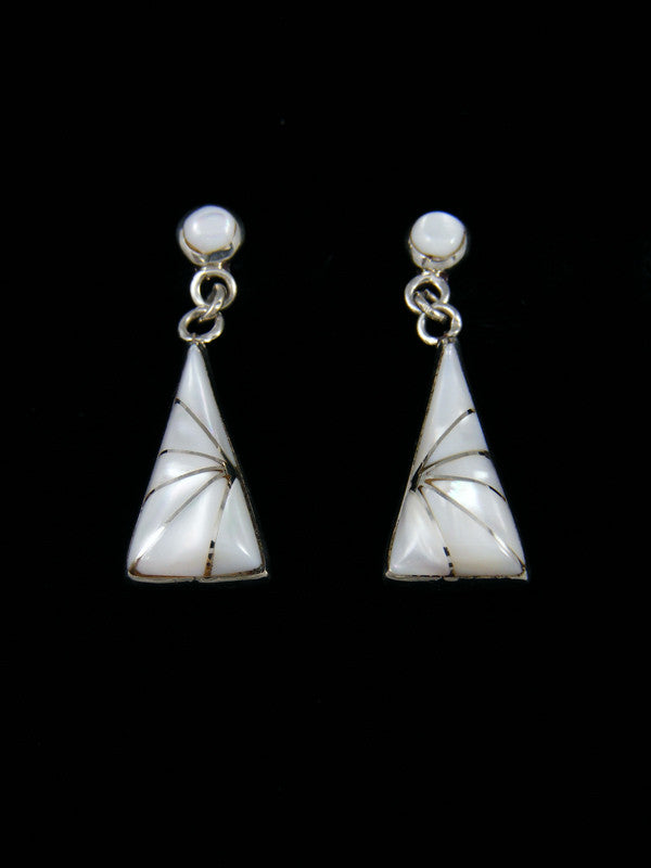Sterling Silver Zuni Mother of Pearl Dangle Earrings