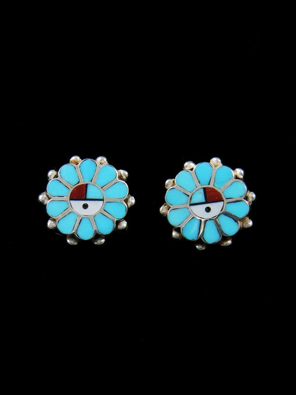 Zuni Inlay Sunface Turquoise Post Earrings