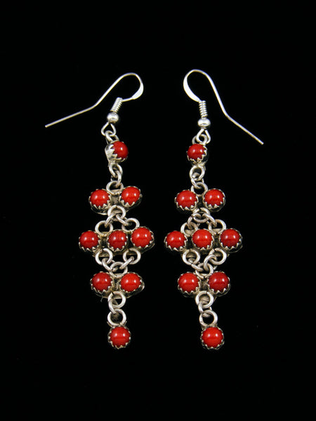 Navajo Sterling Silver Coral Dangle Earrings