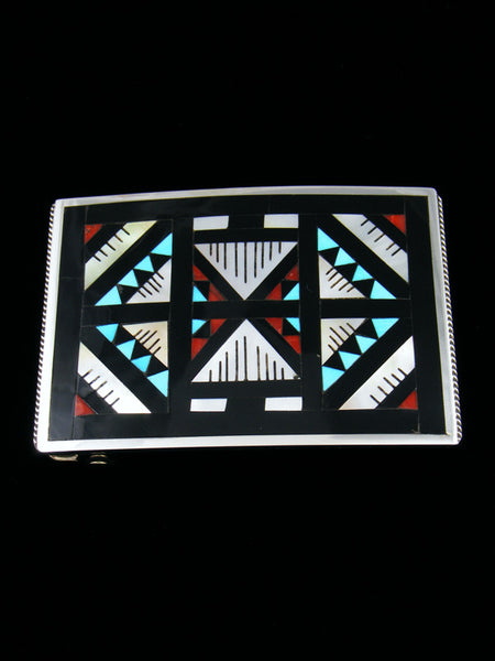 Sterling Silver Zuni Inlay Belt Buckle