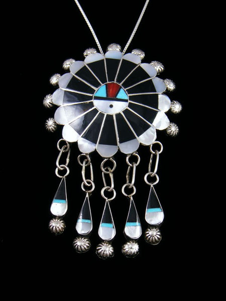 Mother of Pearl Sterling Silver Zuni Inlay Sunface Pin/Pendant