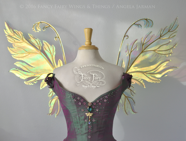 Acorn Iridescent Fairy Wings in Neon Yellow and Gold Veins