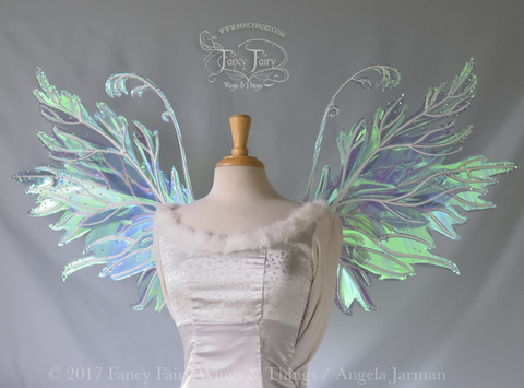 Acorn / Rowan Hybrid Iridescent Fairy Wings in Aquamarine with Pearl Veins and Swarovski Crystals
