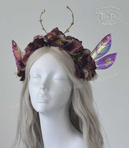 Antique Rose Flower Fairy Headdress with Ellette wings