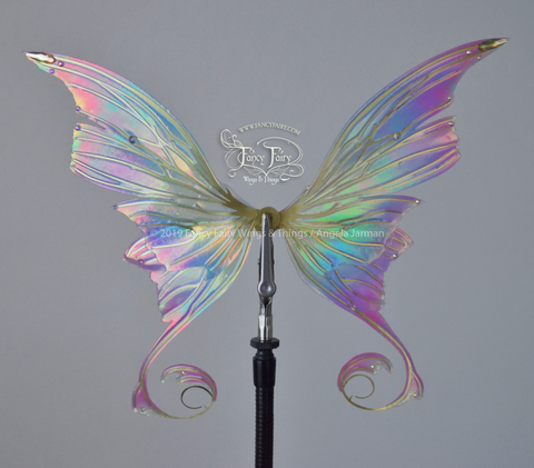 Aphrodite 5 inch Doll & Accessory Fairy Wings in Pastel Rainbow with Brass Veins & Crystals