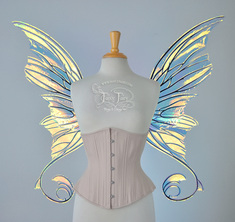 Aphrodite Iridescent Fairy Wings in Clear Diamond Fire with Black Veins