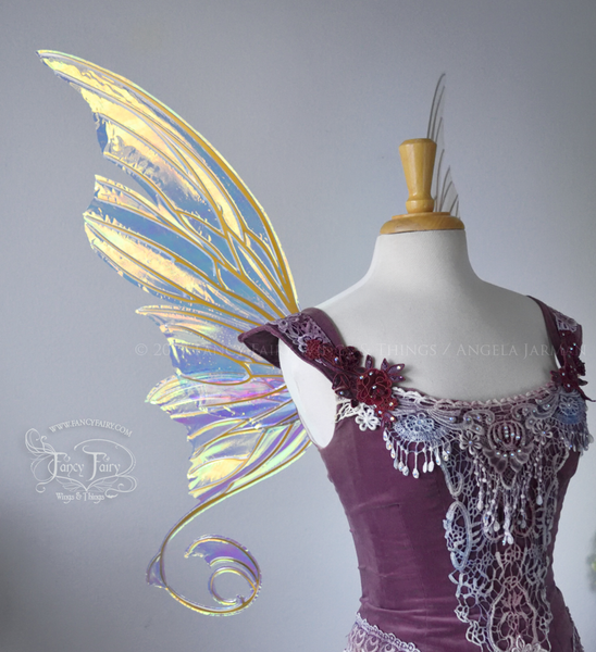 Aphrodite Iridescent Fairy Wings in Clear Diamond Fire with Gold Veins