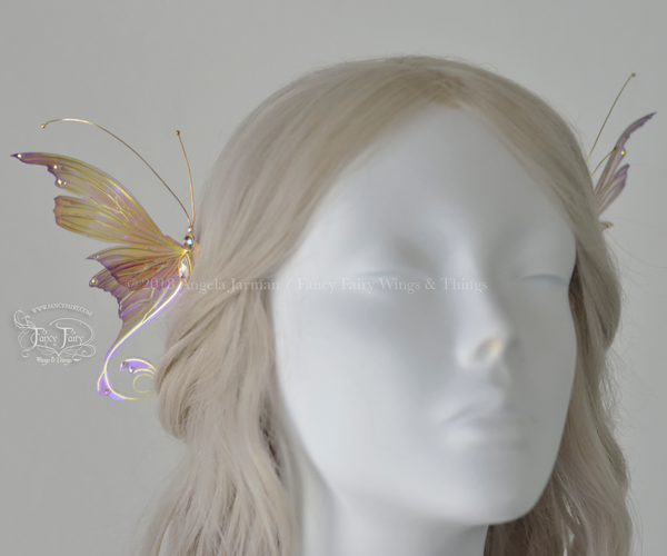 Aphrodite 3 and 1/2 inch Violet Rose Fairy Wing Hair Combs with Brass Veins