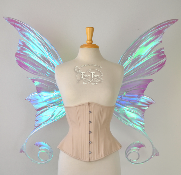 Aphrodite Painted Iridescent Fairy Wings in Ocean Dream with Chrome Silver Veins