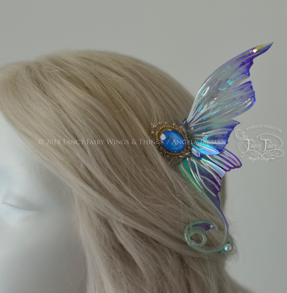 Aphrodite 3 and 1/2 inch Oceanic Fairy Wing Hair Combs with Silver Veins