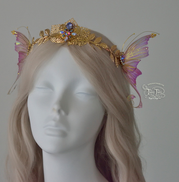 Aphrodite 'Tea Rose' Winged Fairy Crown, brass veining