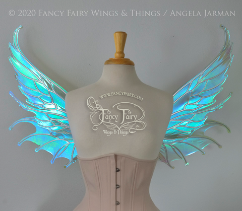 Aquatica Iridescent Convertible Fairy Wings in Absinthe with Silver veins