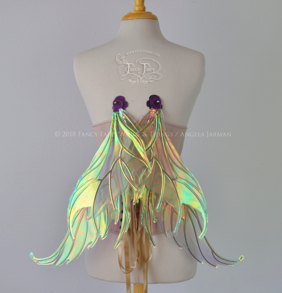 Aquatica Iridescent Convertible Fairy Wings in Patina with Chameleon Cherry Violet Glitter veins