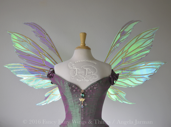 Aynia Iridescent Fairy Wings in Aquamarine Iridescent with Gold veins