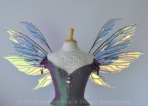 Aynia Iridescent Fairy Wings in Diamond Fire Iridescent with Black veins