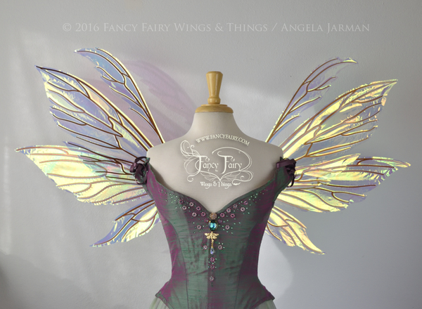 Aynia Iridescent Fairy Wings in Diamond Fire Iridescent with Copper veins