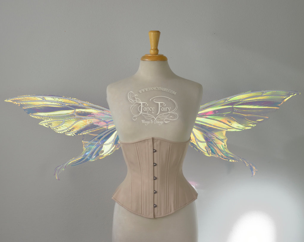 Aynia / Morgana Hybrid Iridescent Fairy Wings in Clear Diamond Fire with Pearl veins