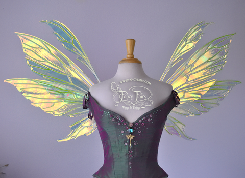 Aynia Iridescent Fairy Wings in Neon Yellow Iridescent with Ombre Green and White veins