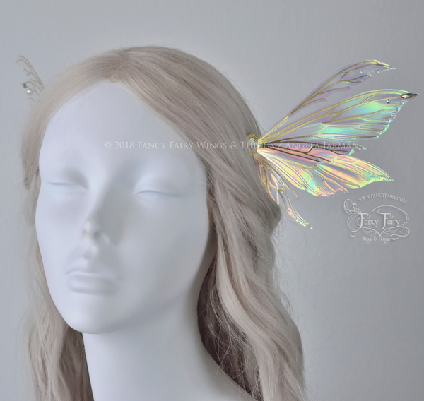 Aynia 5 inch Fairy Wings Hair Pins in Iridescent Satin White with Brass Veins