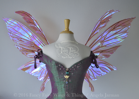 Aynia / Salome Hybrid Iridescent Fairy Wings in Berry with Copper veins
