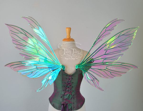 Aynia Iridescent Fairy Wings in Ocean Sunrise Iridescent with Green veins