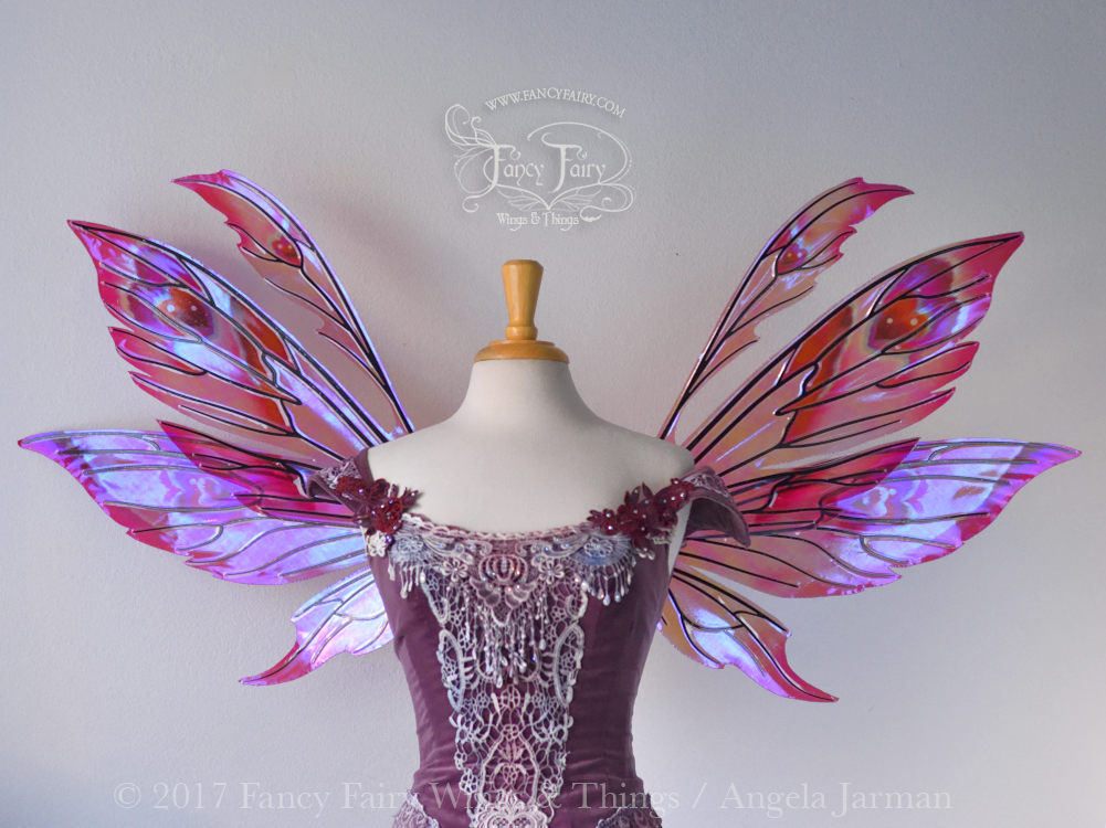 Aynia Painted Iridescent Fairy Wings in Valentine Hearts Theme