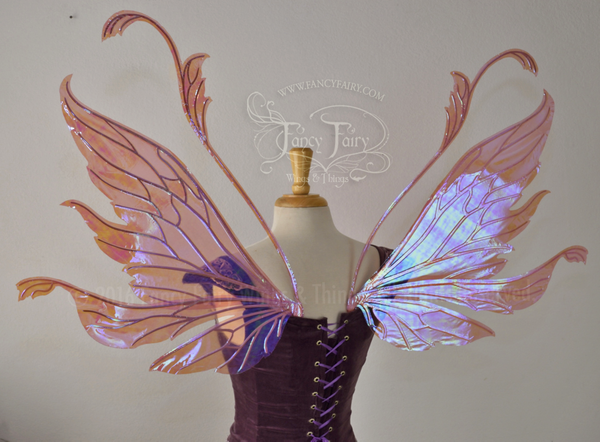 Vivienne Iridescent Fairy Wings in Berry with Pearl veins