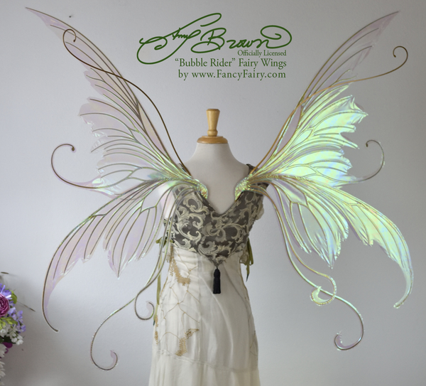 Giant Amy Brown Bubble Rider Iridescent Fairy Wings in Satin White Iridescent with Gold veins