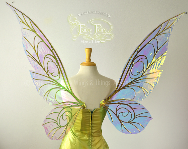 Extra Large Trinket Iridescent Fairy Wings in Clear with Gold veins