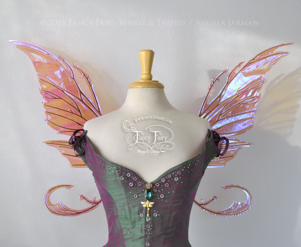 Bloodvine Iridescent Fairy Wings in Berry with Copper Veins