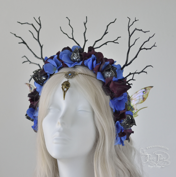 """Blue Raven"" Gothic Fairy Headdress"