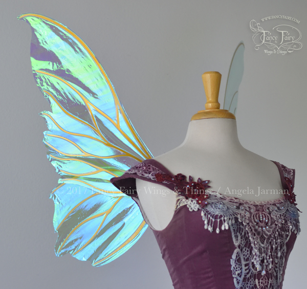 Clarion Iridescent Fairy Wings in Aquamarine with Gold veins
