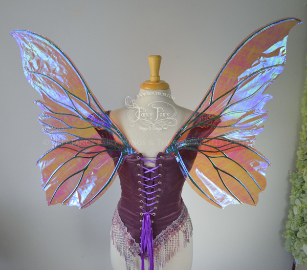 Clarion Iridescent Fairy Wings in Berry with Green veins