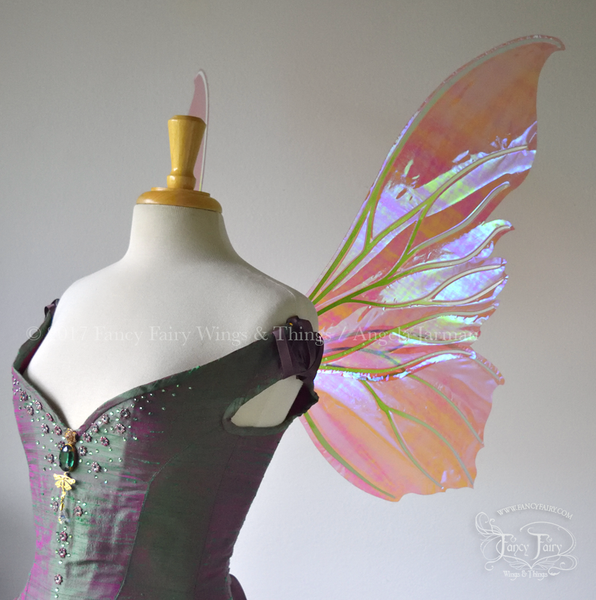 Clarion Iridescent Fairy Wings in Berry with Green and White Ombre veins