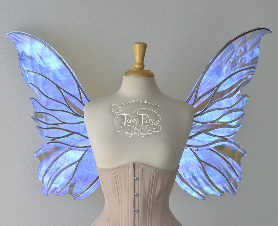 Clarion Iridescent Fairy Wings in Blue Moth Pattern
