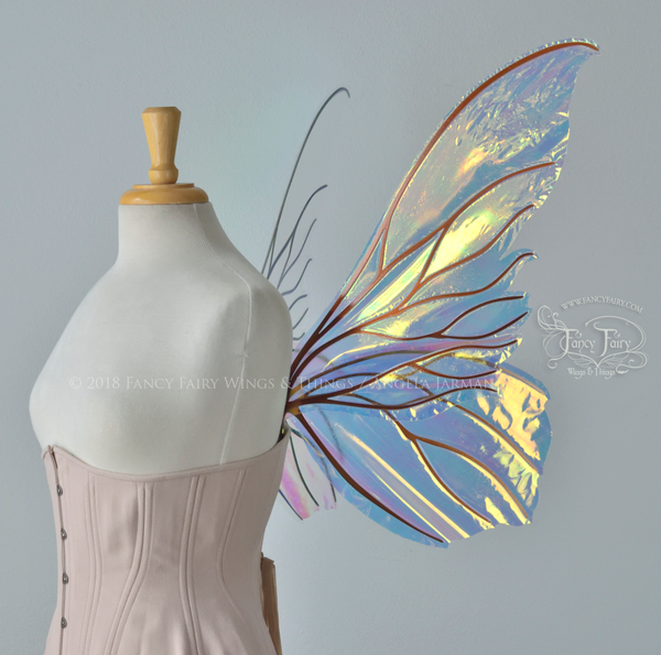 Clarion Iridescent Fairy Wings in Clear Diamond Fire with Copper Veins