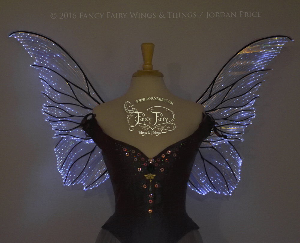 Clarion Iridescent Light Up Fairy Wings in Clear with Black Veins & White Lights