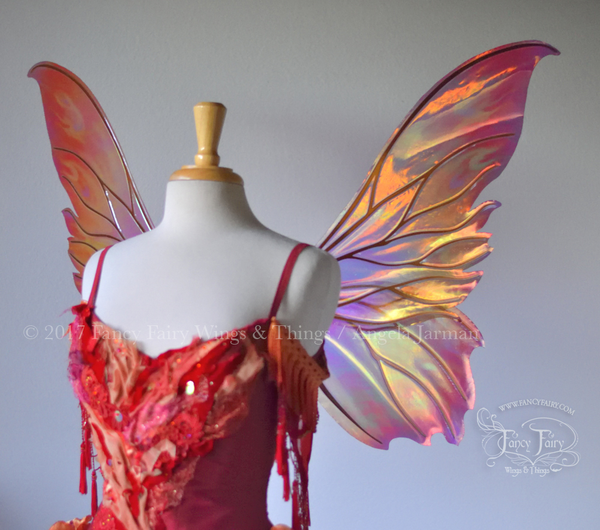 Clarion Painted Iridescent Fairy Wings in Fire Colors for Winx Dreamix Cosplay