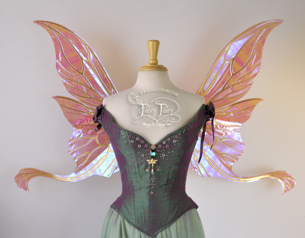 Guinevere Iridescent Fairy Wings in Berry with Gold veins