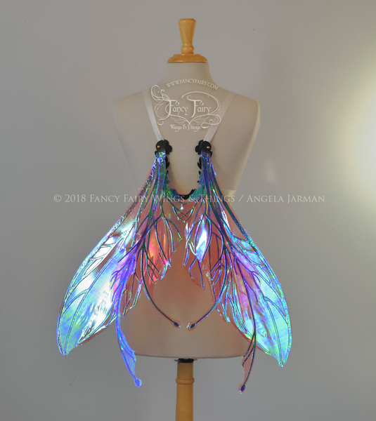 Datura Iridescent Convertible Fairy Wings in Berry with Black veins