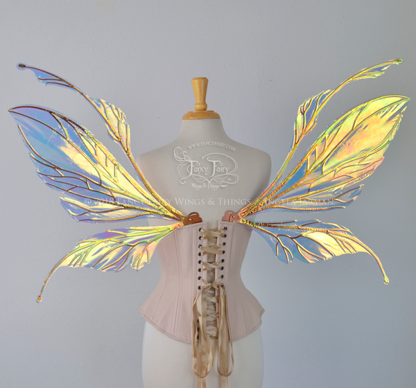 Datura Iridescent Convertible Fairy Wings in Clear Diamond Fire with Copper veins