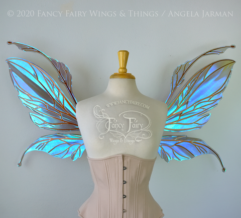 Datura Iridescent Convertible Fairy Wings in Dark Crystal with Copper veins